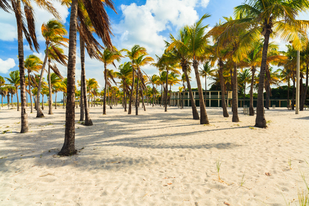 key biscayne: Beautiful Crandon Park Beach with rental cabanas located in Key Biscayne in Miami. Stock Photo