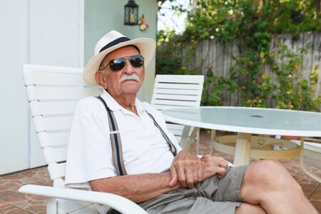 octogenarian: Elderly eighty plus year old man outdoor portrait. Stock Photo