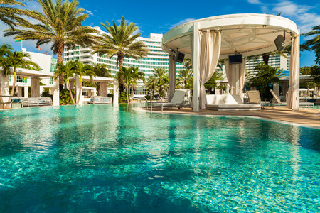 united states: Miami Beach, FL USA - Octobet 3, 2012: The beautiful pool area of the historic art deco Fontainebleau Hotel on Miami Beach. Editorial