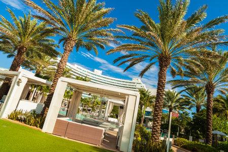 fl: Miami Beach, FL USA - Octobet 3, 2012: The beautiful pool area of the historic art deco Fontainebleau Hotel on Miami Beach. Editorial