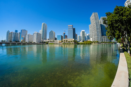 fish eye: Fish eye view of  downtown Miami along Biscayne Bay. Stock Photo