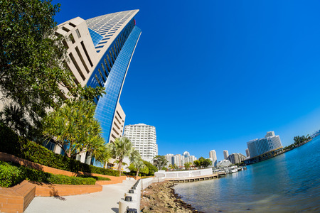 fish eye: Fish eye view of the Brickell area in downtown Miami along Biscayne Bay.