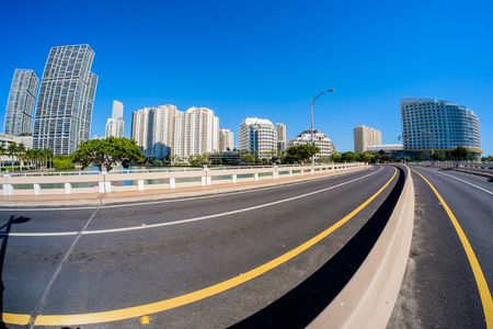 fish eye: Fish eye view of the bridge road leading to Brickell Key in downtown Miami.