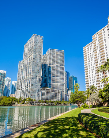 key biscayne: Cityscape view of the Brickell Key area in downtown Miami along Biscayne Bay.