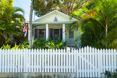 Key West, Florida USA - March 2, 2015: A beautifully restored wood frame home in the historic district of Key West.