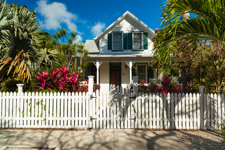residential home: Key West, Florida USA - March 3, 2015: Typical wood frame architecture style home in the residential district of Key West. Editorial