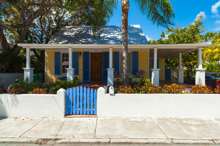 key west: Key West, Florida USA - March 2, 2015: A beautifully restored wood frame home in the historic district of Key West.