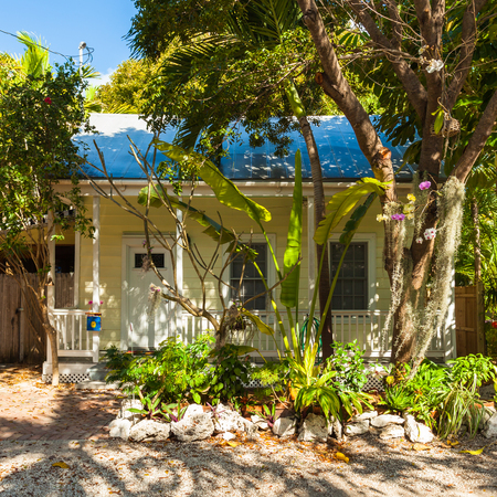 ��wood frame�: Key West, Florida USA - March 3, 2015: Typical wood frame architecture style home in the residential district of Key West. Editorial