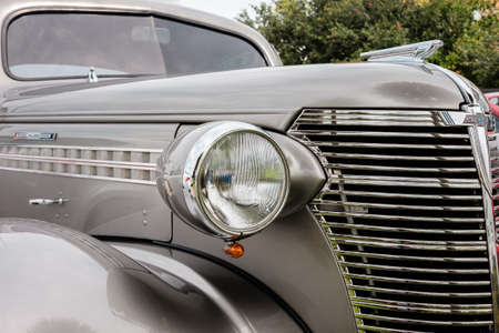chevrolet: Key Largo, FL USA - June 14, 2015: Close up view of the front end of a beautifully restored 1938 Chevrolet model Coupe.