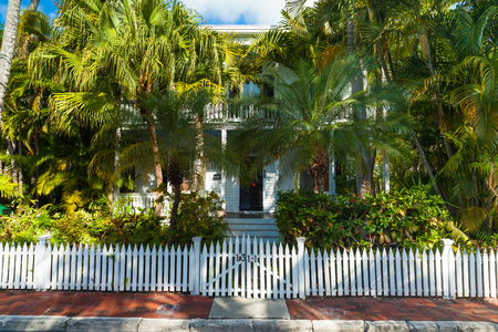 ��wood frame�: Key West, Florida USA - March 3, 2015: Typical wood frame architecture style home in the residential Historic District of Key West.