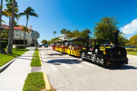 Key West, Florida USA - March 3, 2015: The Conch Tour Train is a popular tourist attraction for visitors in Key West.