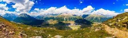 european alps: Beautiful Swiss Alps panoramic mountain landscape of the Engadin Mountains in the Corvatsch region near Saint Moritz. Stock Photo
