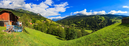 mountain landscape: Beautiful Swiss mountain valley landscape.