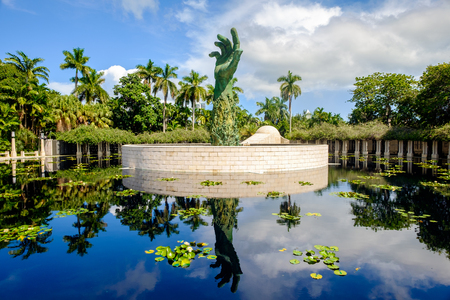 tribute: Miami Beach, Florida USA - September 25, 2015:  The beautiful Holocaust Memorial was completed in 1990 as an enduring tribute to all the lives lost during the holocaust.