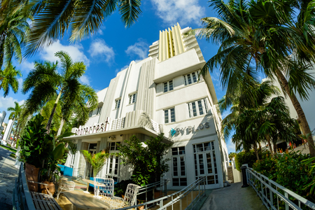 fish eye: Miami Beach, Florida USA - December 29, 2015: Fish eye view of the beautiful Shorecrest Hotel in Miami Beach, a popular international travel destination, with palm trees and art deco architecture.