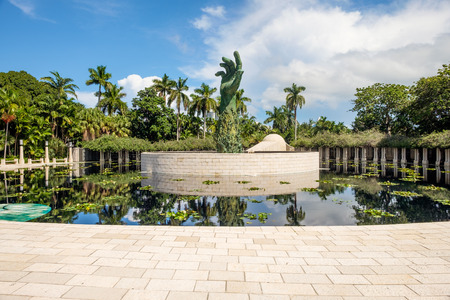 Miami Beach, Florida USA - September 25, 2015:  The beautiful Holocaust Memorial was completed in 1990 as an enduring tribute to all the lives lost during the holocaust.