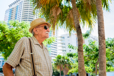 80s adult: Elderly 80 plus year old man in a outdoor setting.
