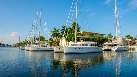 intercoastal: Scenic view of the Fort Lauderdale Intracoastal Waterway along Las Olas Boulevard. Stock Photo