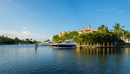 waterfront: Scenic view of the Fort Lauderdale Intracoastal Waterway along Las Olas Boulevard. Stock Photo