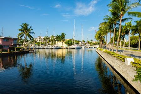 Scenic view of the Fort Lauderdale Intracoastal Waterway along Las Olas Boulevard. Standard-Bild