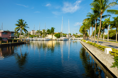 fort lauderdale: Scenic view of the Fort Lauderdale Intracoastal Waterway along Las Olas Boulevard. Stock Photo