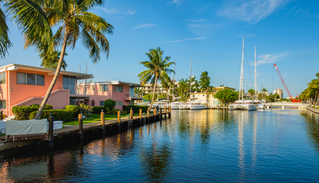 riverfront: Scenic view of the Fort Lauderdale Intracoastal Waterway along Las Olas Boulevard. Stock Photo
