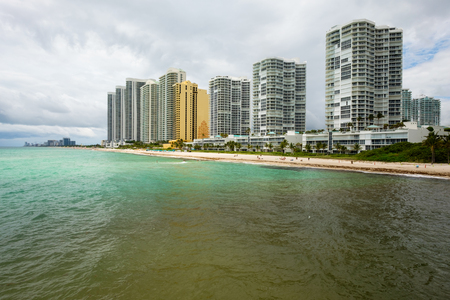 sunny beach: Scenic North Miami Beach skyline with condos and resort hotels.