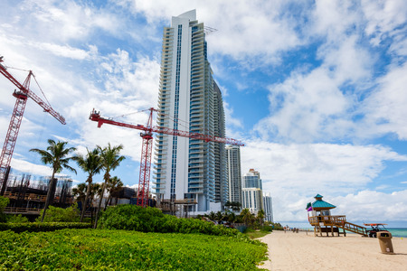 hotel resort: New construction in scenic North Miami Beach with condos and resort hotels. Stock Photo