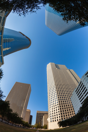 fish eye: Skyward fish eye view of downtown skyscrapers.