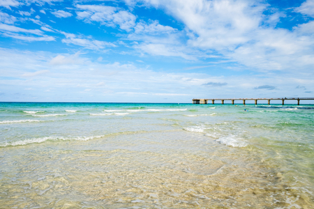 fishing pier: Scenic North Miami Beach with fishing pier. Stock Photo