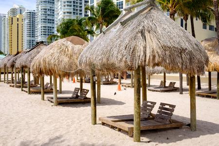 miami florida: Scenic North Miami Beach with tiki huts, condos and resort hotels. Stock Photo