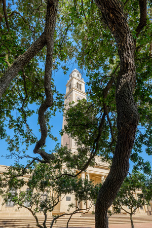 erected: BATON ROUGE, LOUISIANA USA - MAY 5,2014: The 175 foot Memorial Tower, or Campanile, located on the Louisiana State University campus was erected in 1923 is a memorial to Louisianans who died in World War I.