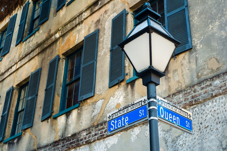 street lamp: Historic French Quarter district in downtown Charleston, South Carolina. Stock Photo