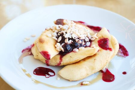 marmelade: Gourmet french style toast with blackberry and raspberry marmelade.