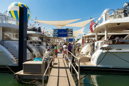 sailing boats: Miami Beach, Fl USA - February 13, 2016: The popular Miami International Boat Show features more than 3,000 boats and 2,000 exhibitors from all over the world.