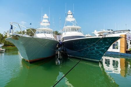 hatteras: Miami Beach, Fl USA - February 13, 2016: The popular Miami International Boat Show features more than 3,000 boats and 2,000 exhibitors from all over the world.