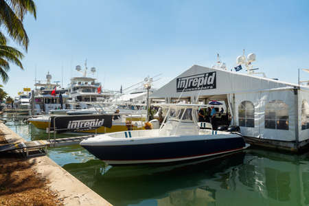 intrepid: Miami Beach, Fl USA - February 13, 2016: The popular Miami International Boat Show features more than 3,000 boats and 2,000 exhibitors from all over the world.