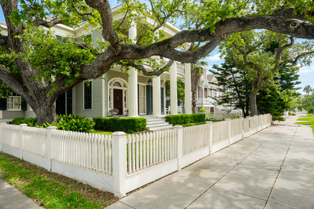 multi story: Beautiful vintage homes of the historical district in Galveston, Texas.