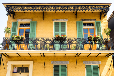 bourbon street: Architecture of the French Quarter in New Orleans, Louisiana.