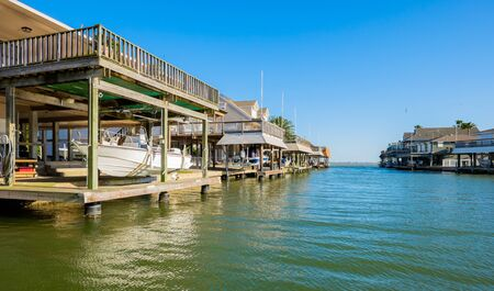 two level house: Waterfront community on the Texas Gulf coast near Galveston. Stock Photo