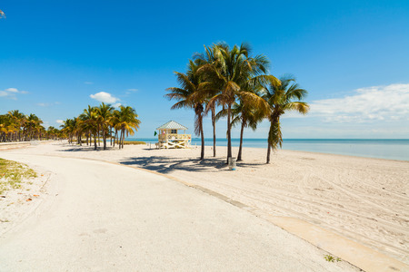 promenade: Beautiful Crandon Park Beach located in Key Biscayne in Miami.