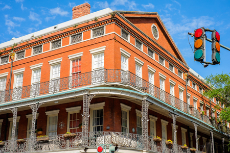 bourbon street: Colorful architecture in the French Quarter in New Orleans, Louisiana. Editorial