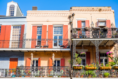 new building: Colorful architecture in the French Quarter in New Orleans, Louisiana. Editorial