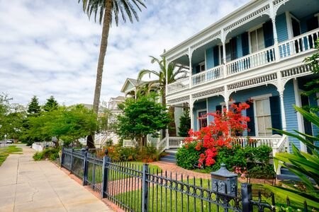 suburbs: Beautiful vintage homes of the historical district in Galveston, Texas.