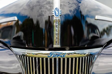 front end: Miami, FL USA - February 28, 2016: Close up view of the front end of a beautifully restored vintage Ford Deluxe automobile. Editorial