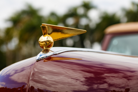 front end: Miami, Florida USA - February 28, 2016: Close up view of the front end of a beautifully restored 1946 American Lincoln Continental. Editorial