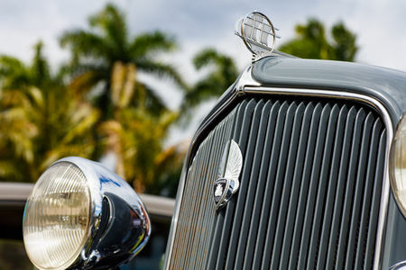 Miami, Florida USA - February 28, 2016: Close up view of the front end of a beautifully restored 1934 American Plymouth automobile. Editorial