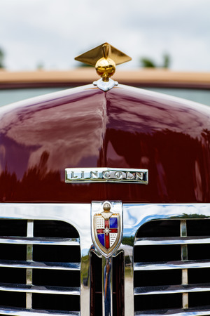 restored: Miami, Florida USA - February 28, 2016: Close up view of the front end of a beautifully restored 1946 American Lincoln Continental. Editorial