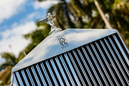 Miami, FL USA - February 28, 2016: Beautifully restored 1952 Rolls Royce automobile in a outdoor setting. Editorial