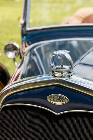 front end: Miami, FL USA - February 28, 2016: Close up view of the front end of a beautifully restored 1931 Ford Model A automobile.